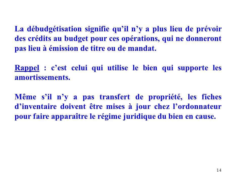 14 La débudgétisation signifie quil ny a plus lieu de prévoir des crédits au budget pour ces opérations, qui ne donneront pas lieu à émission de titre