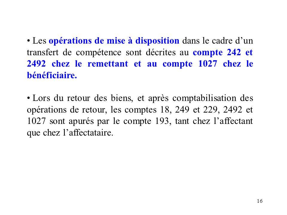 16 Les opérations de mise à disposition dans le cadre dun transfert de compétence sont décrites au compte 242 et 2492 chez le remettant et au compte 1