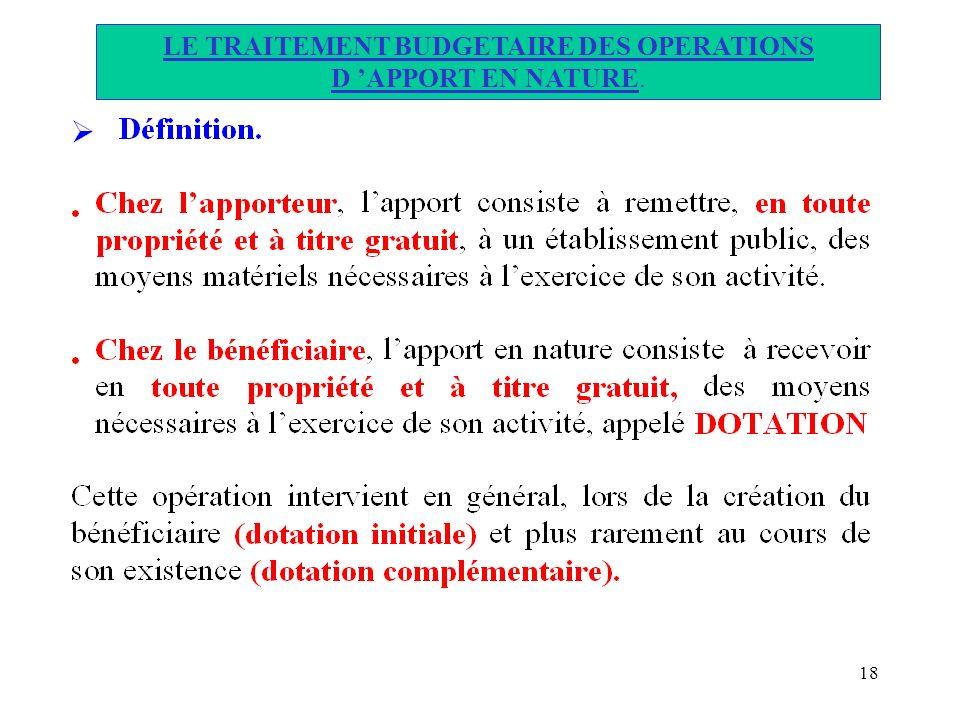 18 LE TRAITEMENT BUDGETAIRE DES OPERATIONS D APPORT EN NATURE.