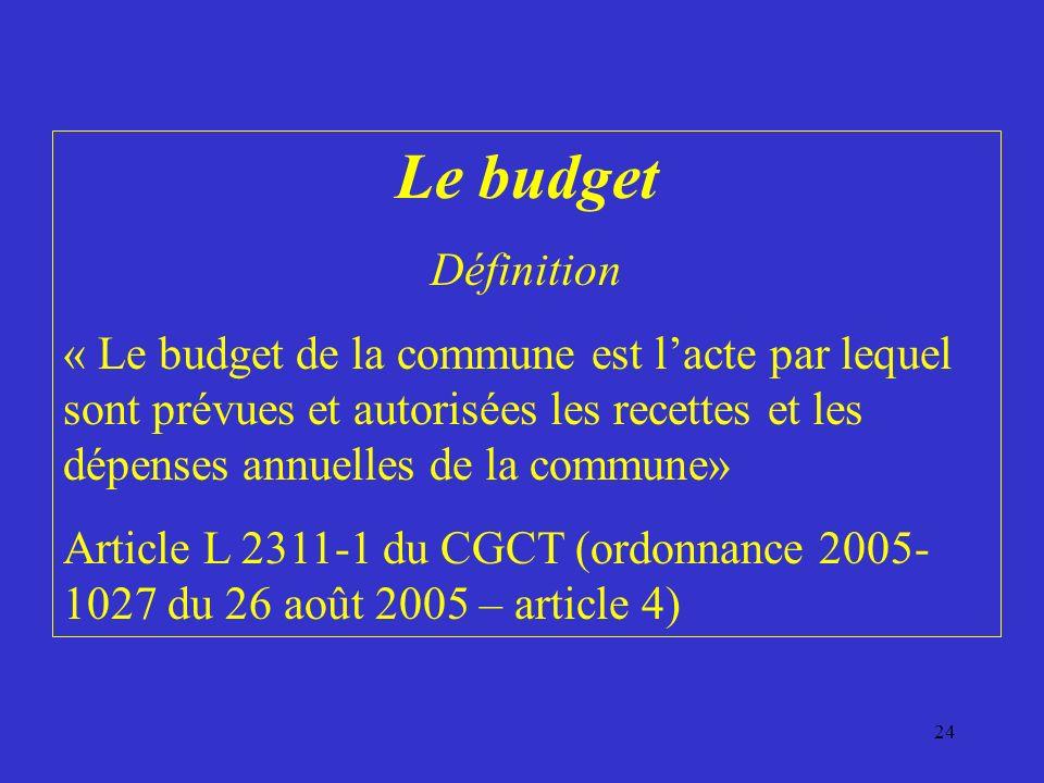 24 Le budget Définition « Le budget de la commune est lacte par lequel sont prévues et autorisées les recettes et les dépenses annuelles de la commune