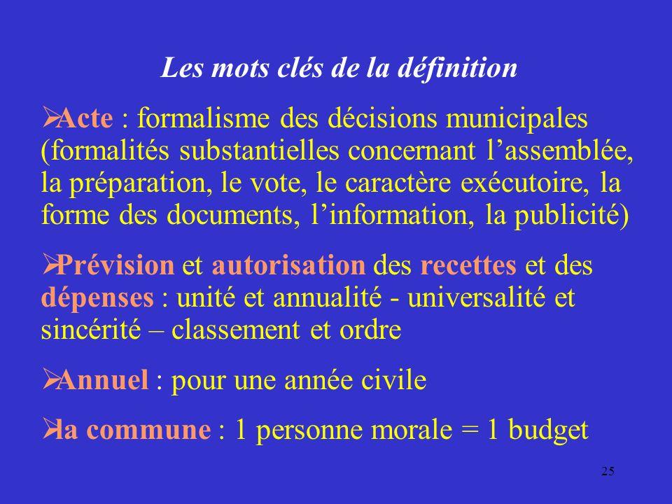 25 Les mots clés de la définition Acte : formalisme des décisions municipales (formalités substantielles concernant lassemblée, la préparation, le vot