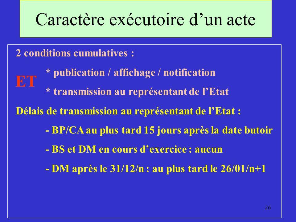 26 Caractère exécutoire dun acte 2 conditions cumulatives : * publication / affichage / notification * transmission au représentant de lEtat Délais de