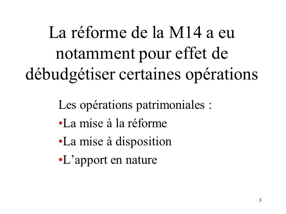 3 La réforme de la M14 a eu notamment pour effet de débudgétiser certaines opérations Les opérations patrimoniales : La mise à la réforme La mise à di