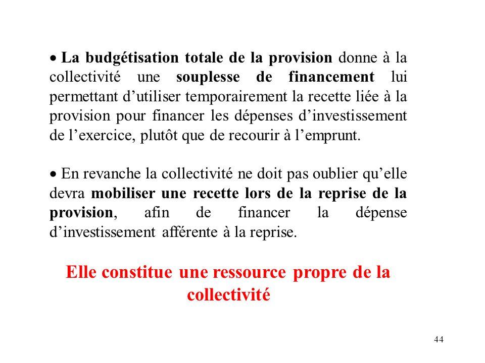 44 La budgétisation totale de la provision donne à la collectivité une souplesse de financement lui permettant dutiliser temporairement la recette lié