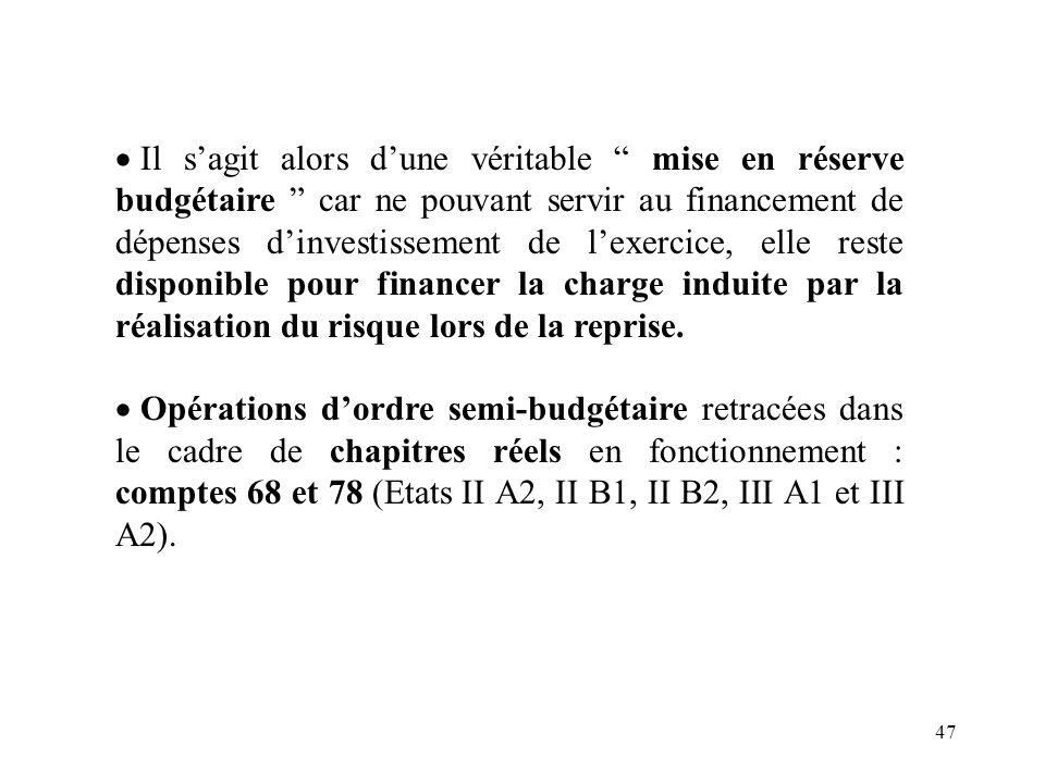 47 Il sagit alors dune véritable mise en réserve budgétaire car ne pouvant servir au financement de dépenses dinvestissement de lexercice, elle reste