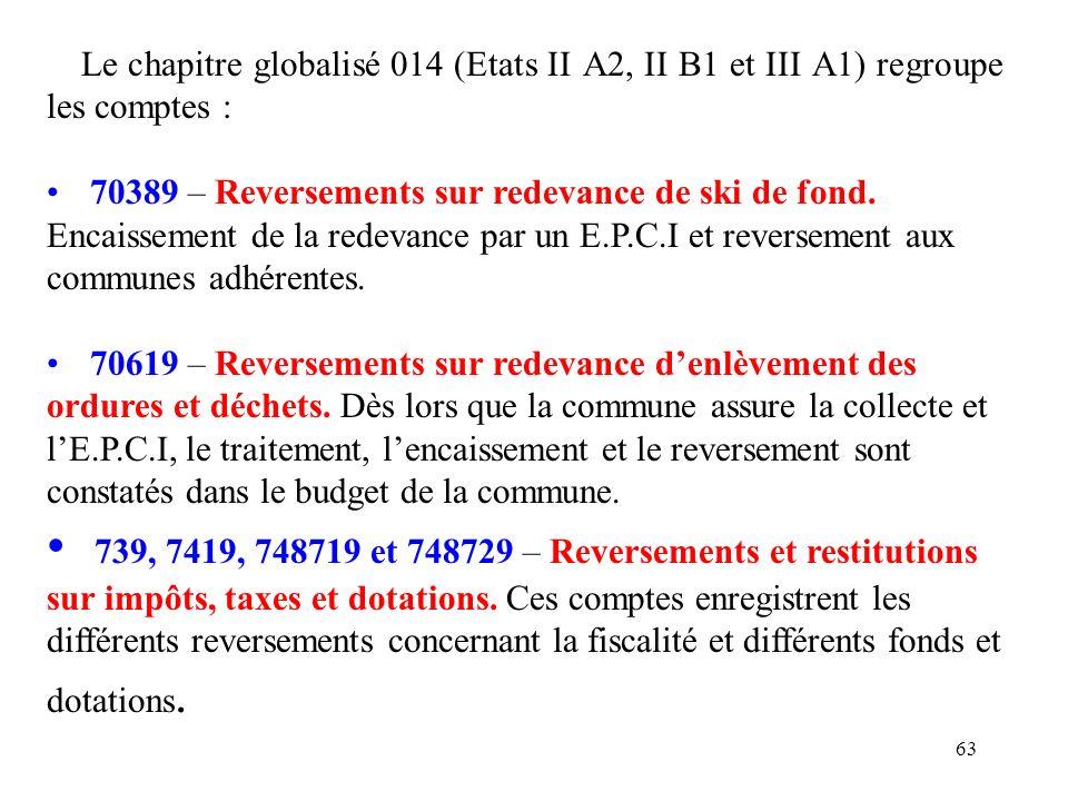 63 Le chapitre globalisé 014 (Etats II A2, II B1 et III A1) regroupe les comptes : 70389 – Reversements sur redevance de ski de fond. Encaissement de