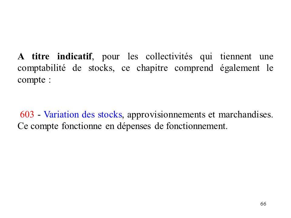 66 A titre indicatif, pour les collectivités qui tiennent une comptabilité de stocks, ce chapitre comprend également le compte : 603 - Variation des s