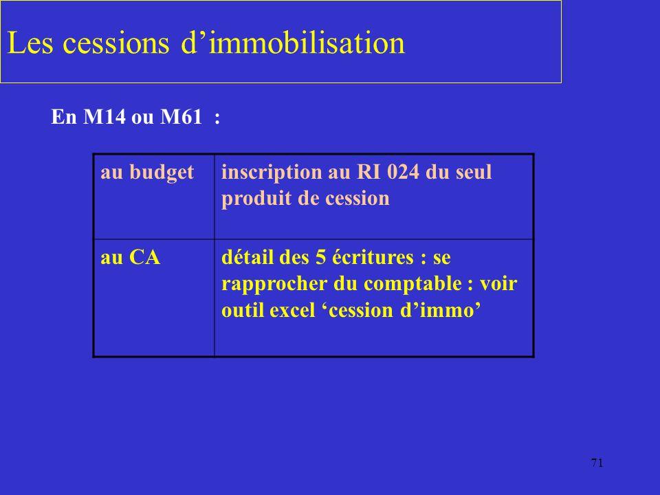 71 Les cessions dimmobilisation En M14 ou M61 : au budgetinscription au RI 024 du seul produit de cession au CAdétail des 5 écritures : se rapprocher