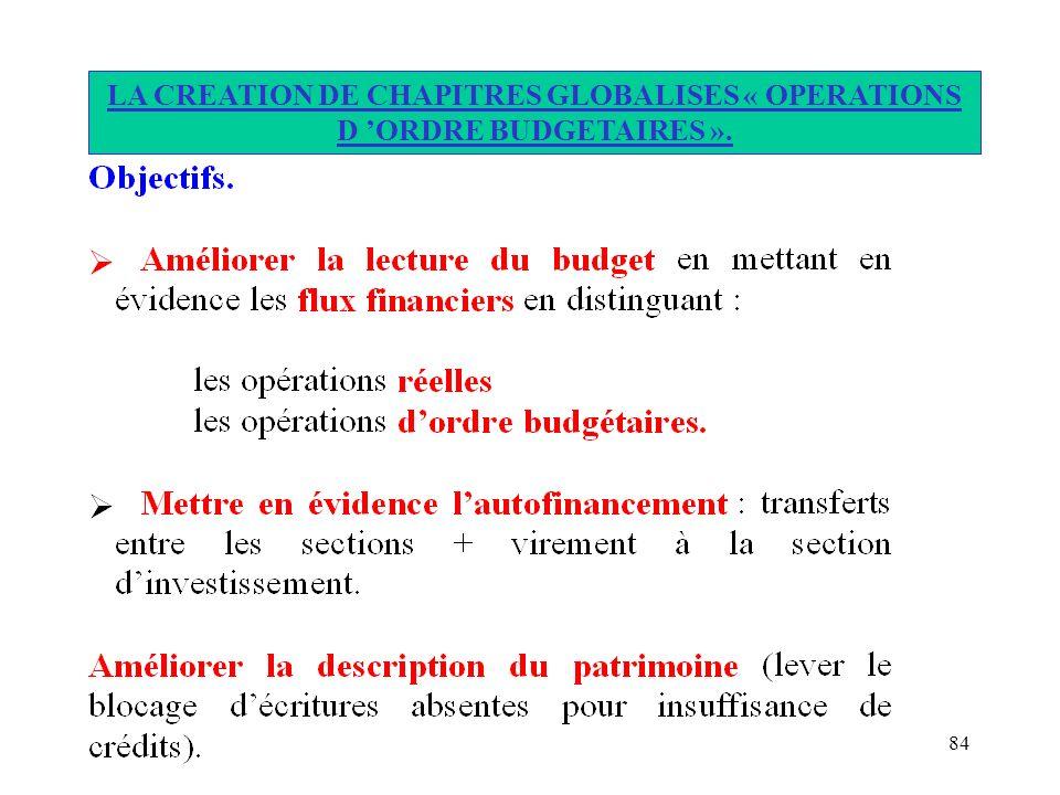 84 LA CREATION DE CHAPITRES GLOBALISES « OPERATIONS D ORDRE BUDGETAIRES ».