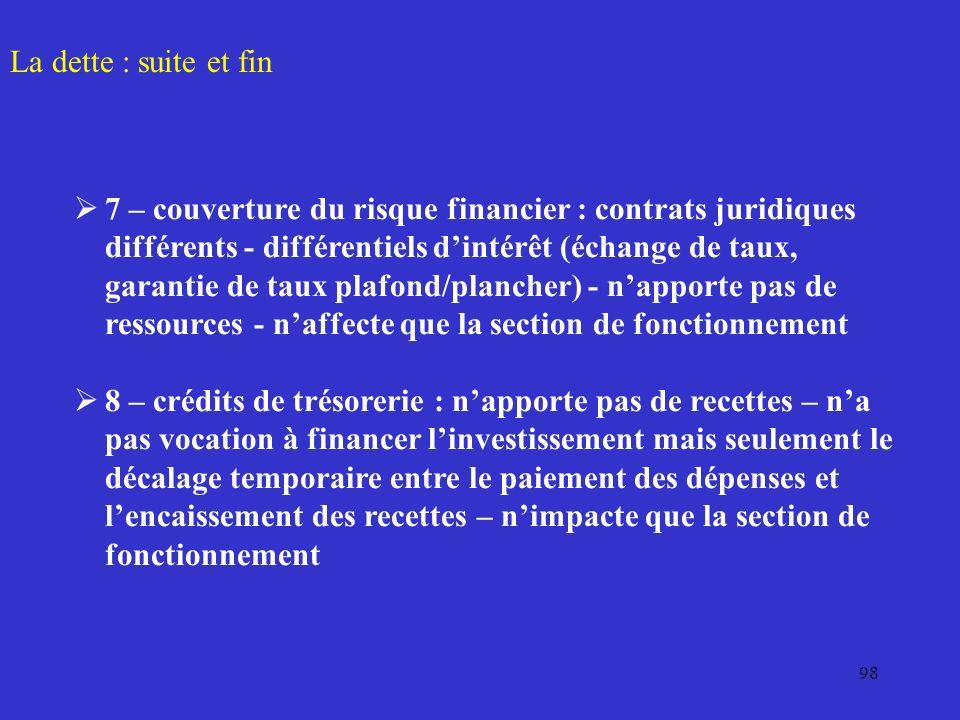 98 La dette : suite et fin 7 – couverture du risque financier : contrats juridiques différents - différentiels dintérêt (échange de taux, garantie de