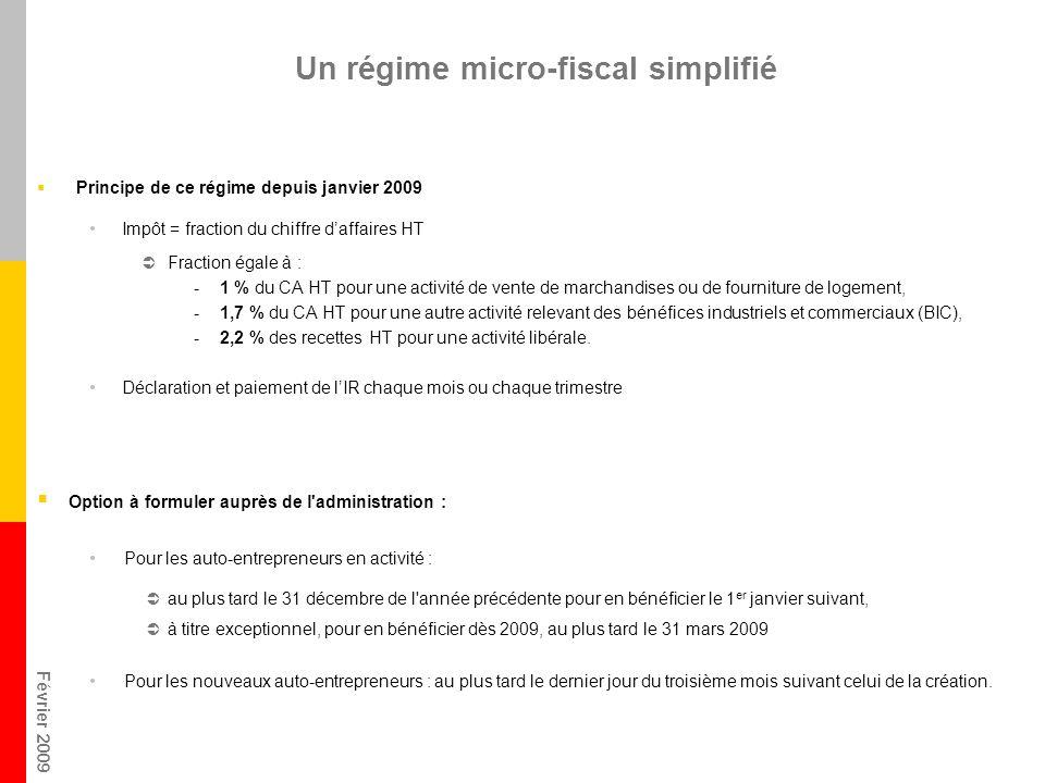 Février 2009 Un régime micro-fiscal simplifié Principe de ce régime depuis janvier 2009 Impôt = fraction du chiffre daffaires HT Fraction égale à : -1
