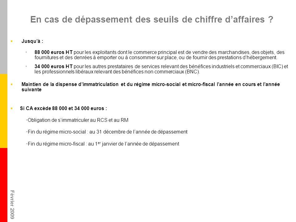 Février 2009 En cas de dépassement des seuils de chiffre daffaires ? Jusquà : 88 000 euros HT pour les exploitants dont le commerce principal est de v