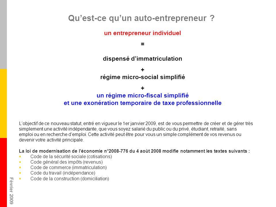 Février 2009 Quest-ce quun auto-entrepreneur ? Lobjectif de ce nouveau statut, entré en vigueur le 1er janvier 2009, est de vous permettre de créer et