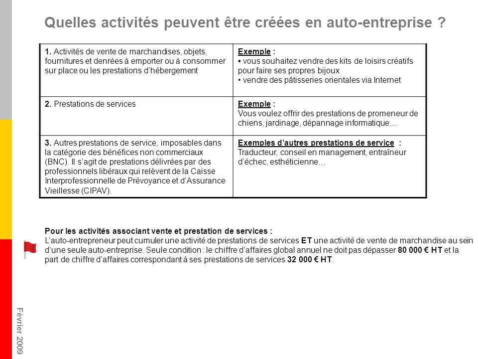 Février 2009 Quelles activités peuvent être créées en auto-entreprise .