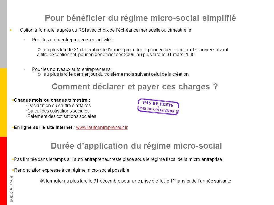 Février 2009 Pour bénéficier du régime micro-social simplifié Option à formuler auprès du RSI avec choix de léchéance mensuelle ou trimestrielle Pour