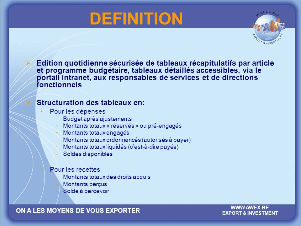ON A LES MOYENS DE VOUS EXPORTER WWW.AWEX.BE EXPORT & INVESTMENT 2. OBJECTIF