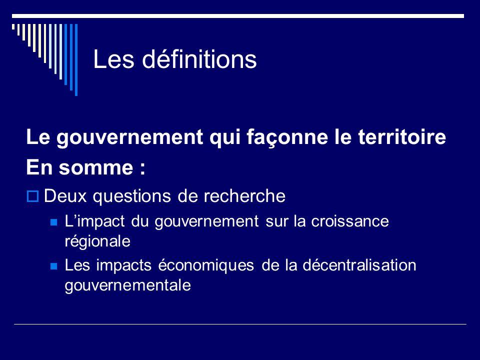 Les définitions Le gouvernement qui façonne le territoire En somme : Deux questions de recherche Limpact du gouvernement sur la croissance régionale Les impacts économiques de la décentralisation gouvernementale