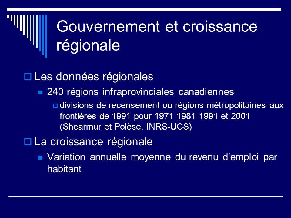 Gouvernement et croissance régionale Les données régionales 240 régions infraprovinciales canadiennes divisions de recensement ou régions métropolitai