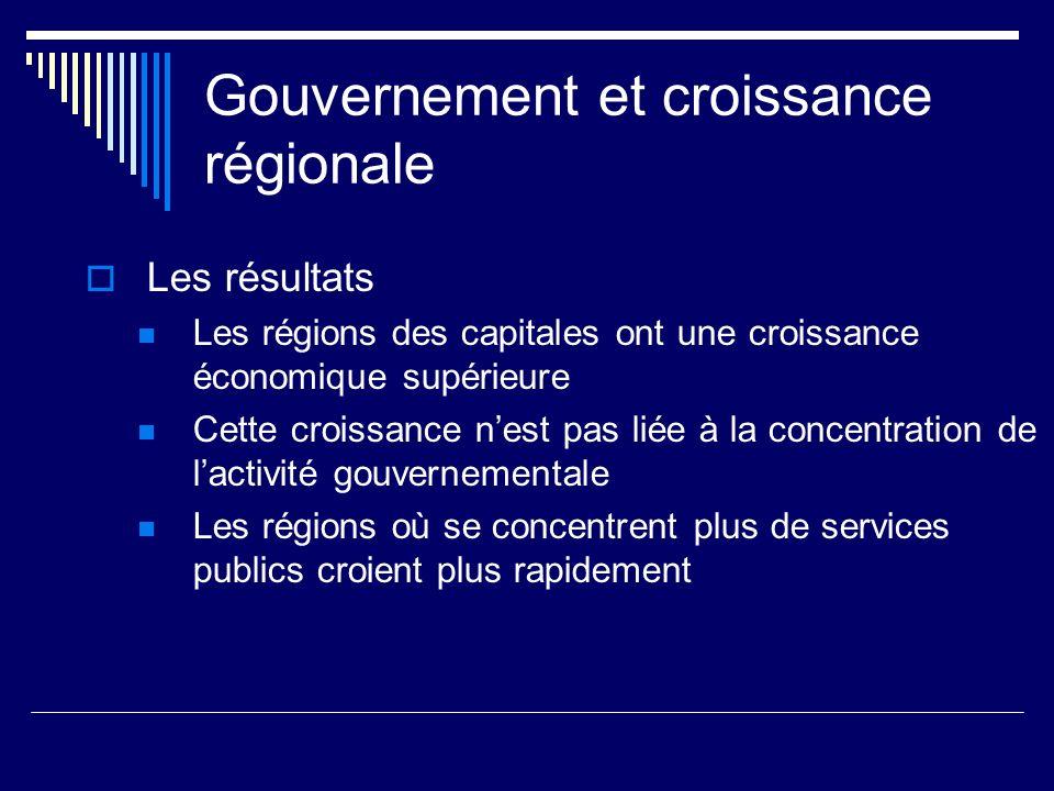 Gouvernement et croissance régionale Les résultats Les régions des capitales ont une croissance économique supérieure Cette croissance nest pas liée à