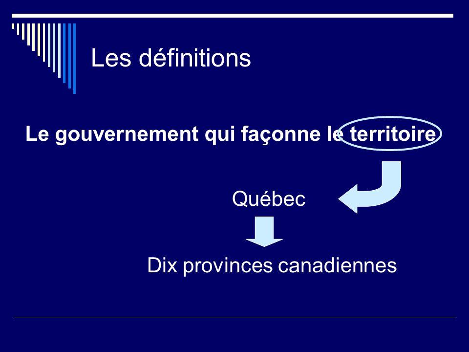 Les définitions Le gouvernement qui façonne le territoire .