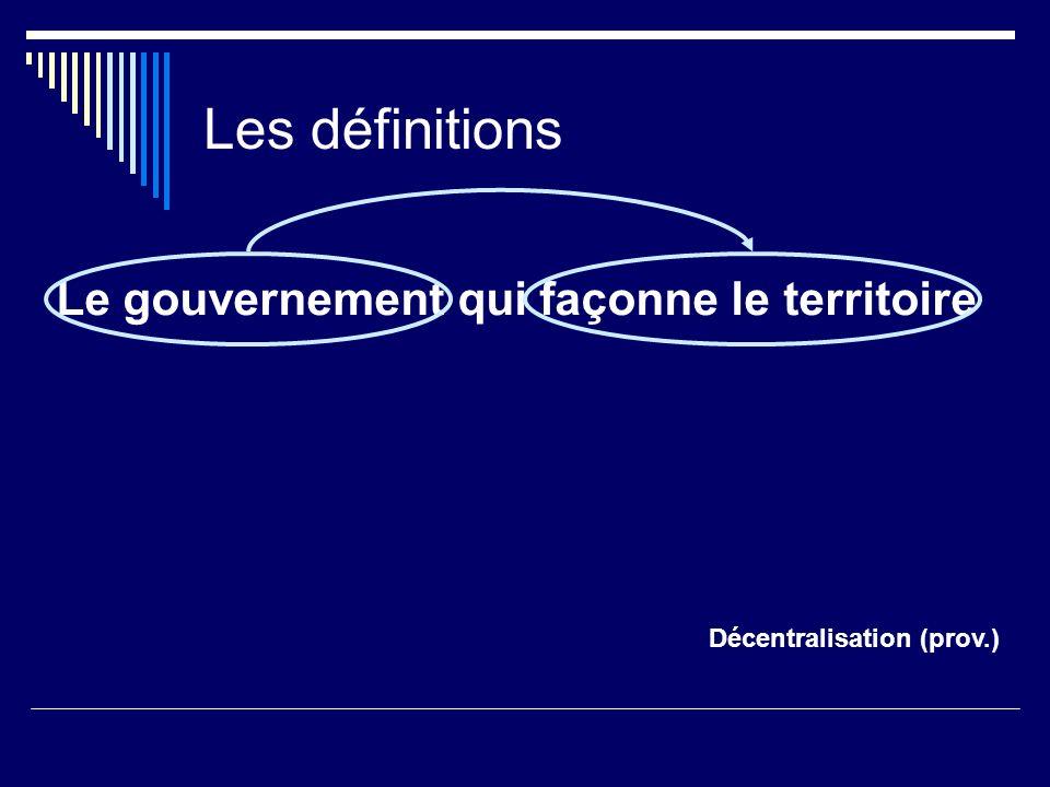 Les définitions Le gouvernement qui façonne le territoire Décentralisation (prov.) = Multiples aspects Aspect financier : Décentralisation fiscale - recettes, dépenses, emploi Aspect géographique : Déconcentration - emploi : administration publique et secteur public - indice de Gini