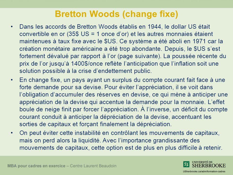 Bretton Woods (change fixe) Dans les accords de Bretton Woods établis en 1944, le dollar US était convertible en or (35$ US = 1 once dor) et les autres monnaies étaient maintenues à taux fixe avec le $US.