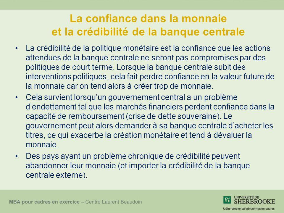 La confiance dans la monnaie et la crédibilité de la banque centrale La crédibilité de la politique monétaire est la confiance que les actions attendues de la banque centrale ne seront pas compromises par des politiques de court terme.