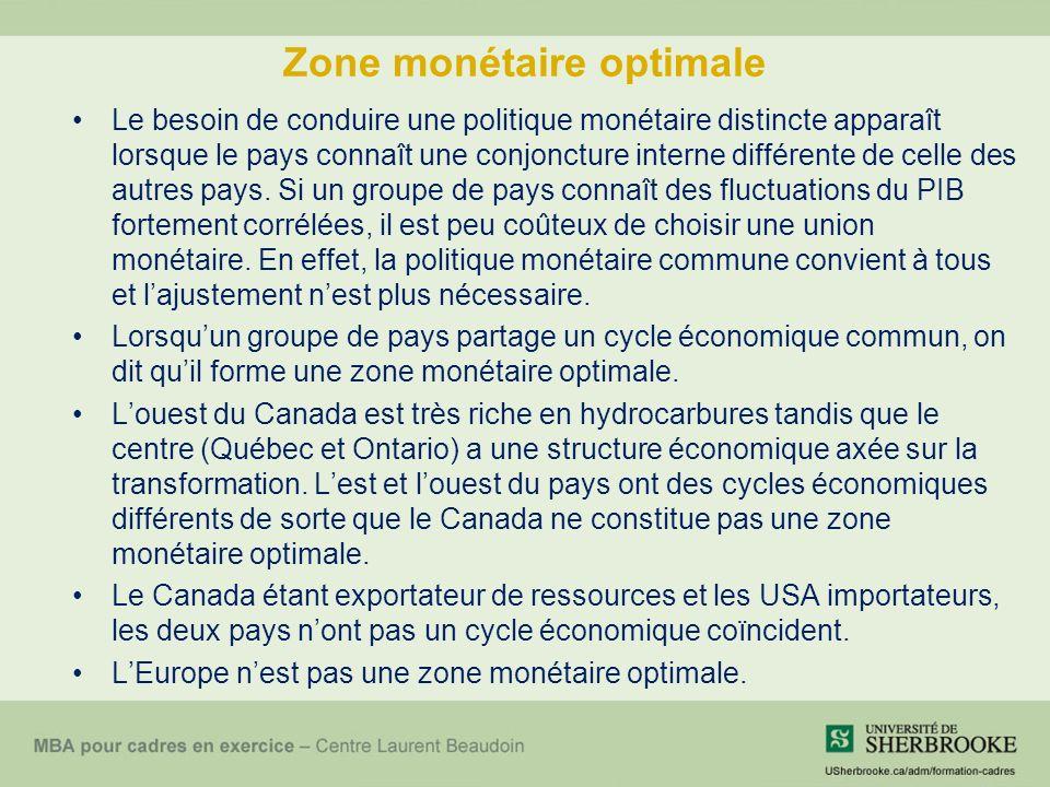 Zone monétaire optimale Le besoin de conduire une politique monétaire distincte apparaît lorsque le pays connaît une conjoncture interne différente de celle des autres pays.