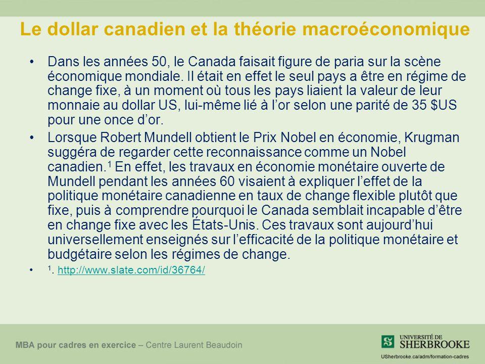 Le dollar canadien et la théorie macroéconomique Dans les années 50, le Canada faisait figure de paria sur la scène économique mondiale.
