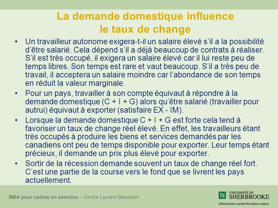 La demande domestique influence le taux de change Un travailleur autonome exigera-t-il un salaire élevé sil a la possibilité dêtre salarié.