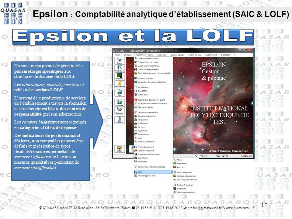 17 QUASAR Conseil Le Roussillon - 86450 Pleumartin - France 05-49-86-65-41 05-49-86-76-27 produit@quasarconseil.fr www.quasarconseil.fr Epsilon : Comp