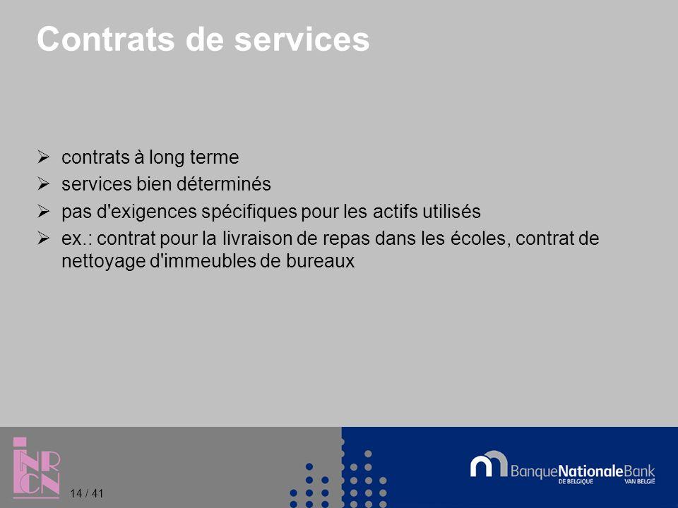 Contrats de services contrats à long terme services bien déterminés pas d exigences spécifiques pour les actifs utilisés ex.: contrat pour la livraison de repas dans les écoles, contrat de nettoyage d immeubles de bureaux 14 / 41