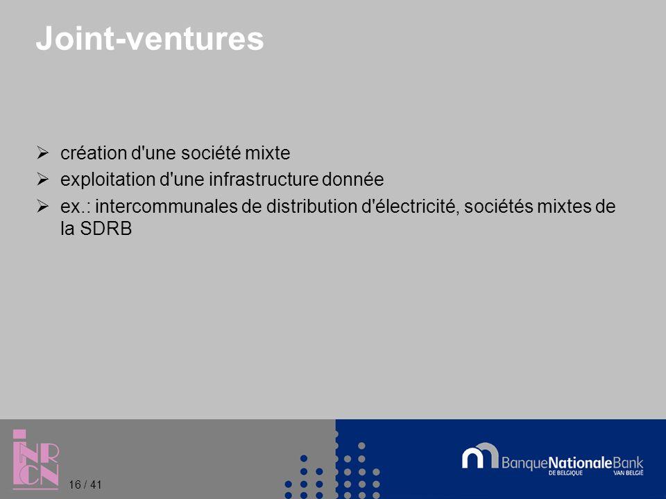 Joint-ventures création d une société mixte exploitation d une infrastructure donnée ex.: intercommunales de distribution d électricité, sociétés mixtes de la SDRB 16 / 41
