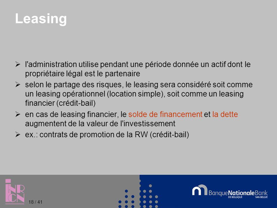 Leasing l administration utilise pendant une période donnée un actif dont le propriétaire légal est le partenaire selon le partage des risques, le leasing sera considéré soit comme un leasing opérationnel (location simple), soit comme un leasing financier (crédit-bail) en cas de leasing financier, le solde de financement et la dette augmentent de la valeur de l investissement ex.: contrats de promotion de la RW (crédit-bail) 18 / 41