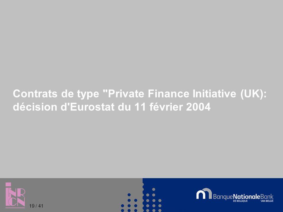 Contrats de type Private Finance Initiative (UK): décision d Eurostat du 11 février 2004 19 / 41