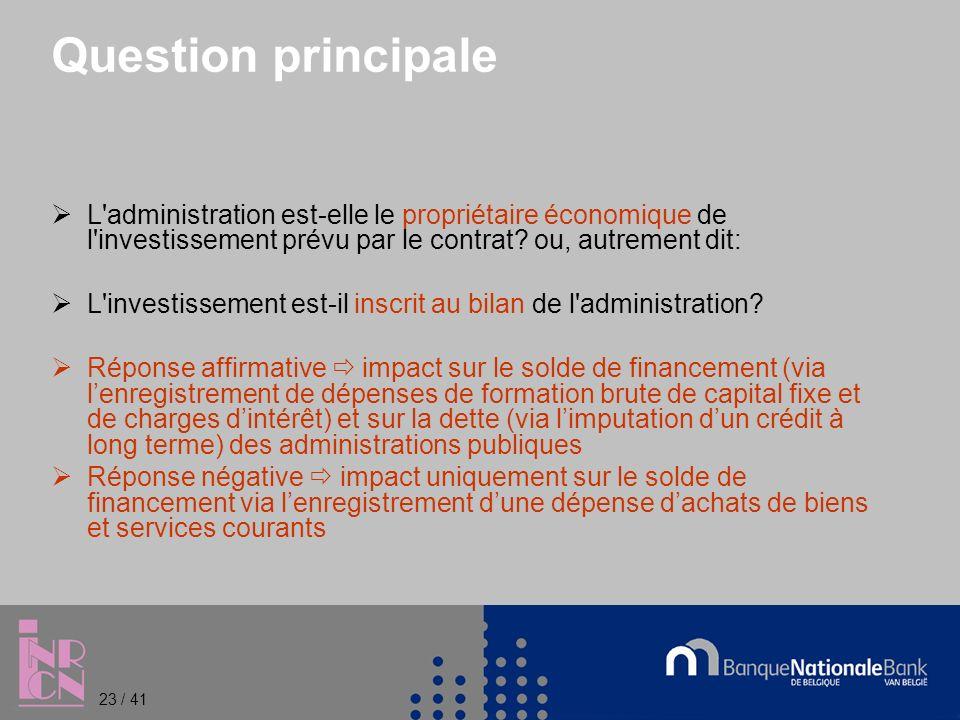 Question principale L administration est-elle le propriétaire économique de l investissement prévu par le contrat.