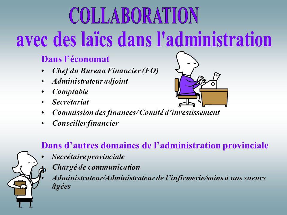 Dans léconomat Chef du Bureau Financier (FO) Administrateur adjoint Comptable Secrétariat Commission des finances/ Comité dinvestissement Conseiller f