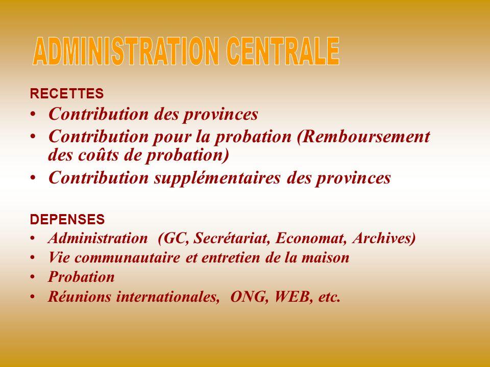 RECETTES Contribution des provinces Contribution pour la probation (Remboursement des coûts de probation) Contribution supplémentaires des provinces D