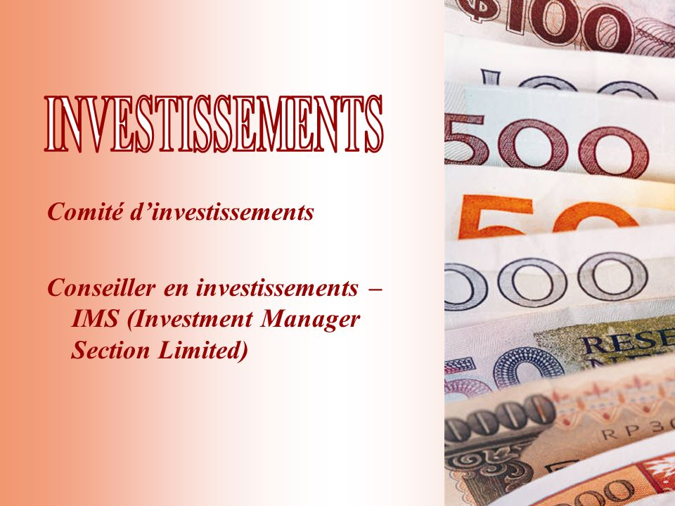 Comité dinvestissements Conseiller en investissements – IMS (Investment Manager Section Limited)