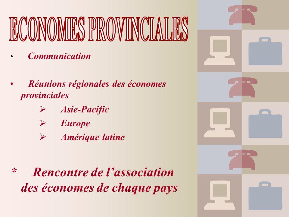 Communication Réunions régionales des économes provinciales Asie-Pacific Europe Amérique latine * Rencontre de lassociation des économes de chaque pay