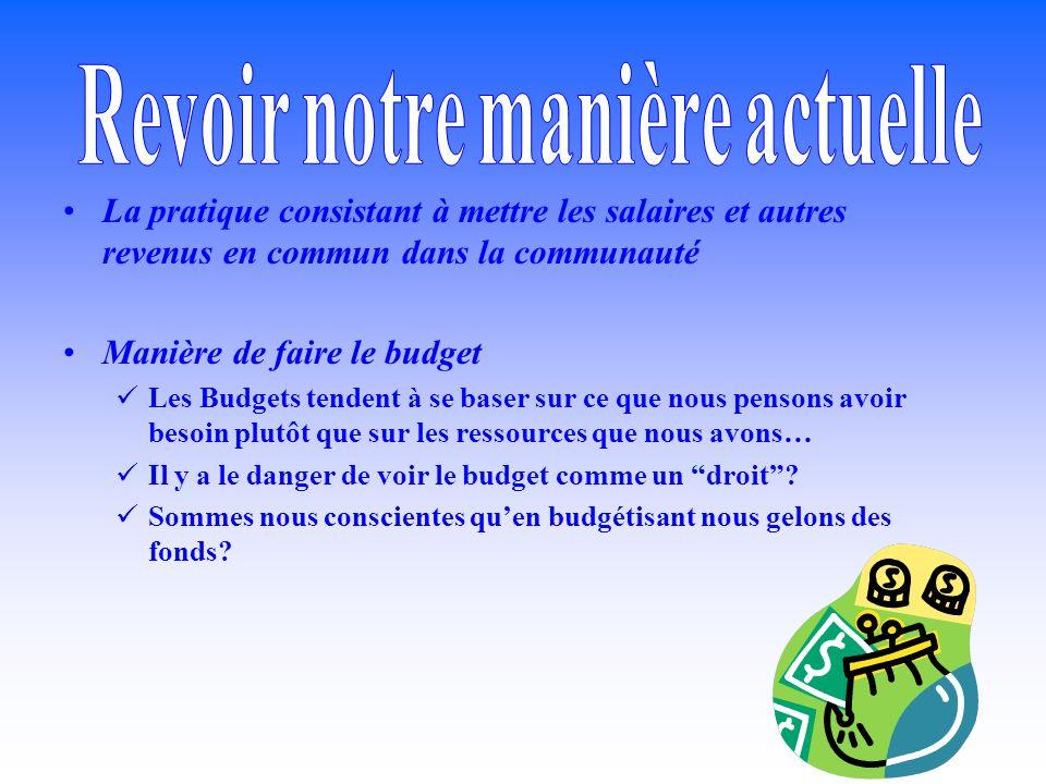 La pratique consistant à mettre les salaires et autres revenus en commun dans la communauté Manière de faire le budget Les Budgets tendent à se baser