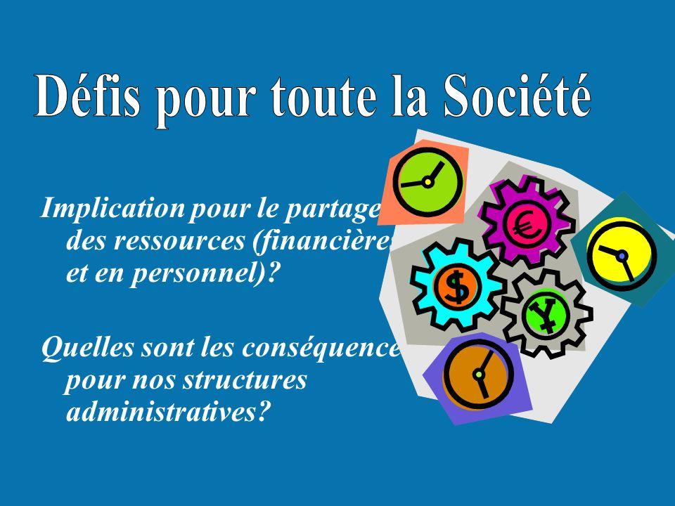 Implication pour le partage des ressources (financières et en personnel)? Quelles sont les conséquences pour nos structures administratives?
