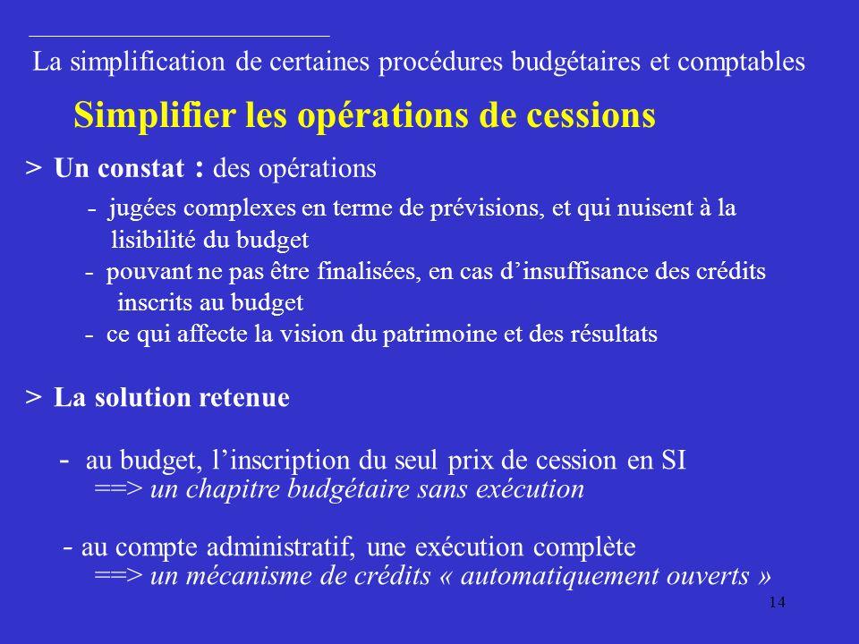 14 > Un constat : des opérations - jugées complexes en terme de prévisions, et qui nuisent à la lisibilité du budget - pouvant ne pas être finalisées, en cas dinsuffisance des crédits inscrits au budget - ce qui affecte la vision du patrimoine et des résultats > La solution retenue - au budget, linscription du seul prix de cession en SI ==> un chapitre budgétaire sans exécution - au compte administratif, une exécution complète ==> un mécanisme de crédits « automatiquement ouverts » La simplification de certaines procédures budgétaires et comptables Simplifier les opérations de cessions