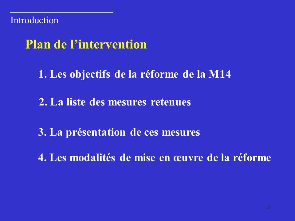 2 Introduction Plan de lintervention 1.Les objectifs de la réforme de la M14 2.