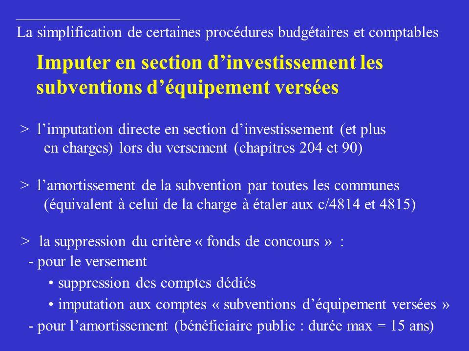 27 > limputation directe en section dinvestissement (et plus en charges) lors du versement (chapitres 204 et 90) > lamortissement de la subvention par toutes les communes (équivalent à celui de la charge à étaler aux c/4814 et 4815) > la suppression du critère « fonds de concours » : - pour le versement suppression des comptes dédiés imputation aux comptes « subventions déquipement versées » - pour lamortissement (bénéficiaire public : durée max = 15 ans) La simplification de certaines procédures budgétaires et comptables Imputer en section dinvestissement les subventions déquipement versées