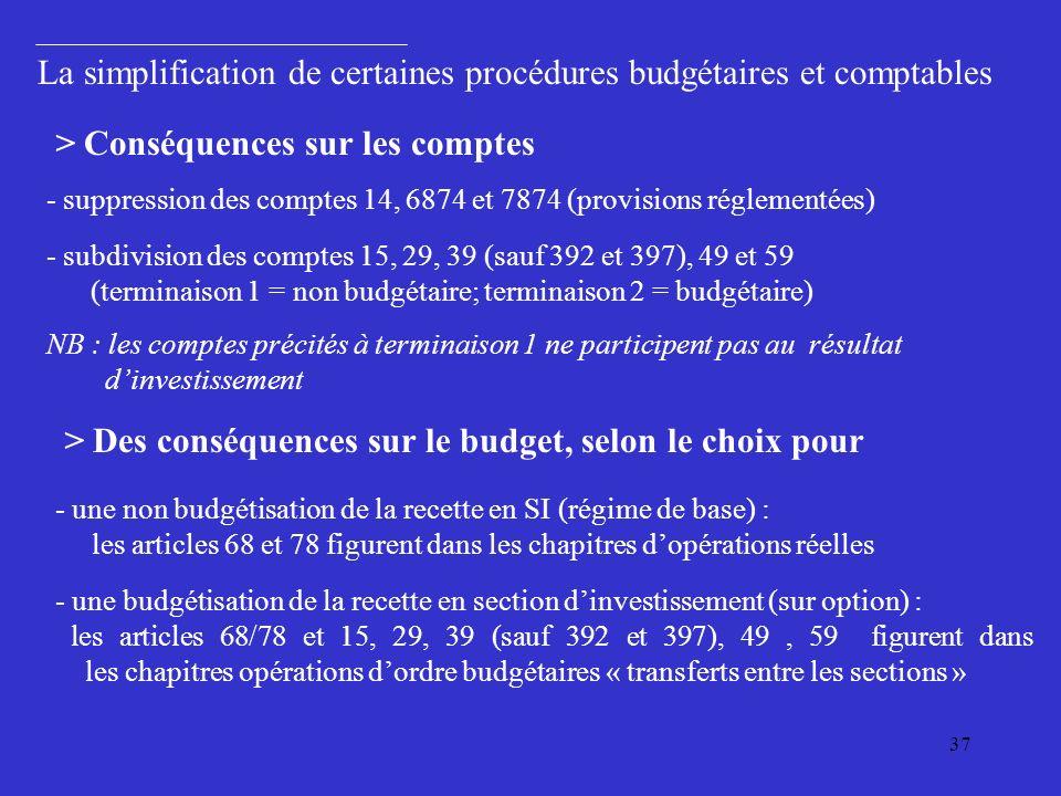 37 > Conséquences sur les comptes - suppression des comptes 14, 6874 et 7874 (provisions réglementées) - subdivision des comptes 15, 29, 39 (sauf 392 et 397), 49 et 59 (terminaison 1 = non budgétaire; terminaison 2 = budgétaire) NB : les comptes précités à terminaison 1 ne participent pas au résultat dinvestissement > Des conséquences sur le budget, selon le choix pour - une non budgétisation de la recette en SI (régime de base) : les articles 68 et 78 figurent dans les chapitres dopérations réelles - une budgétisation de la recette en section dinvestissement (sur option) : les articles 68/78 et 15, 29, 39 (sauf 392 et 397), 49, 59 figurent dans les chapitres opérations dordre budgétaires « transferts entre les sections » La simplification de certaines procédures budgétaires et comptables