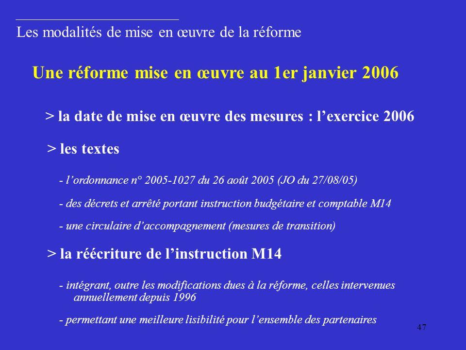 47 Les modalités de mise en œuvre de la réforme > les textes - lordonnance n° 2005-1027 du 26 août 2005 (JO du 27/08/05) - des décrets et arrêté portant instruction budgétaire et comptable M14 - une circulaire daccompagnement (mesures de transition) Une réforme mise en œuvre au 1er janvier 2006 > la date de mise en œuvre des mesures : lexercice 2006 > la réécriture de linstruction M14 - intégrant, outre les modifications dues à la réforme, celles intervenues annuellement depuis 1996 - permettant une meilleure lisibilité pour lensemble des partenaires