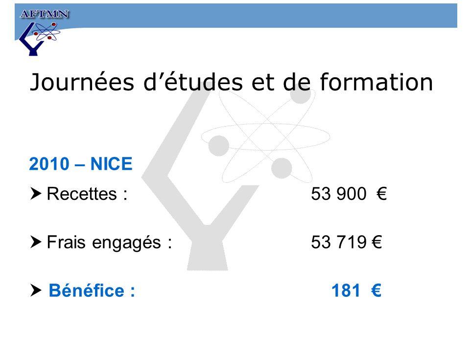 2010 – NICE Recettes:53 900 Frais engagés : 53 719 Bénéfice : 181 Journées détudes et de formation