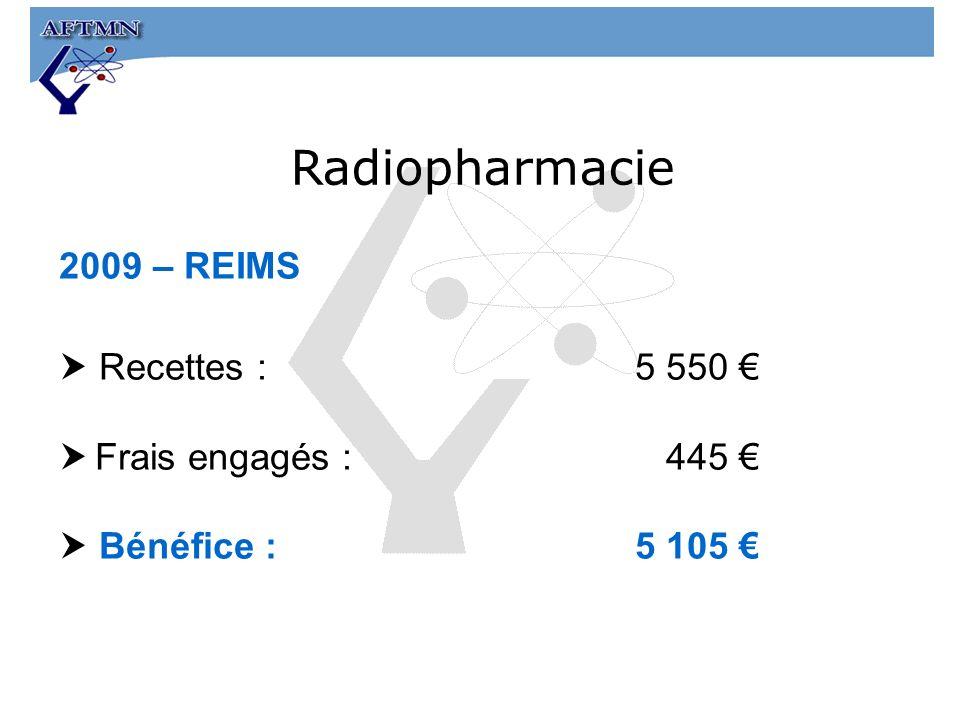 2009 – REIMS Recettes :5 550 Frais engagés : 445 Bénéfice : 5 105 Radiopharmacie