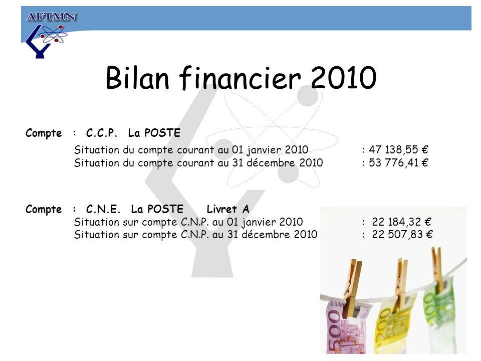 Bilan financier 2010 Compte : C.C.P.